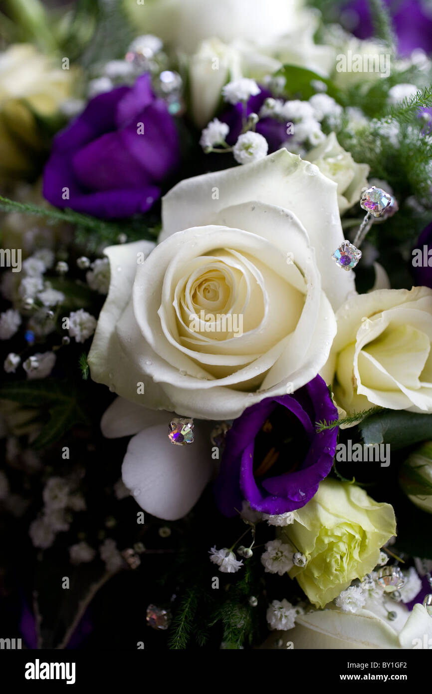 Bridal bouquet of cream roses and purple flowers Stock Photo ...