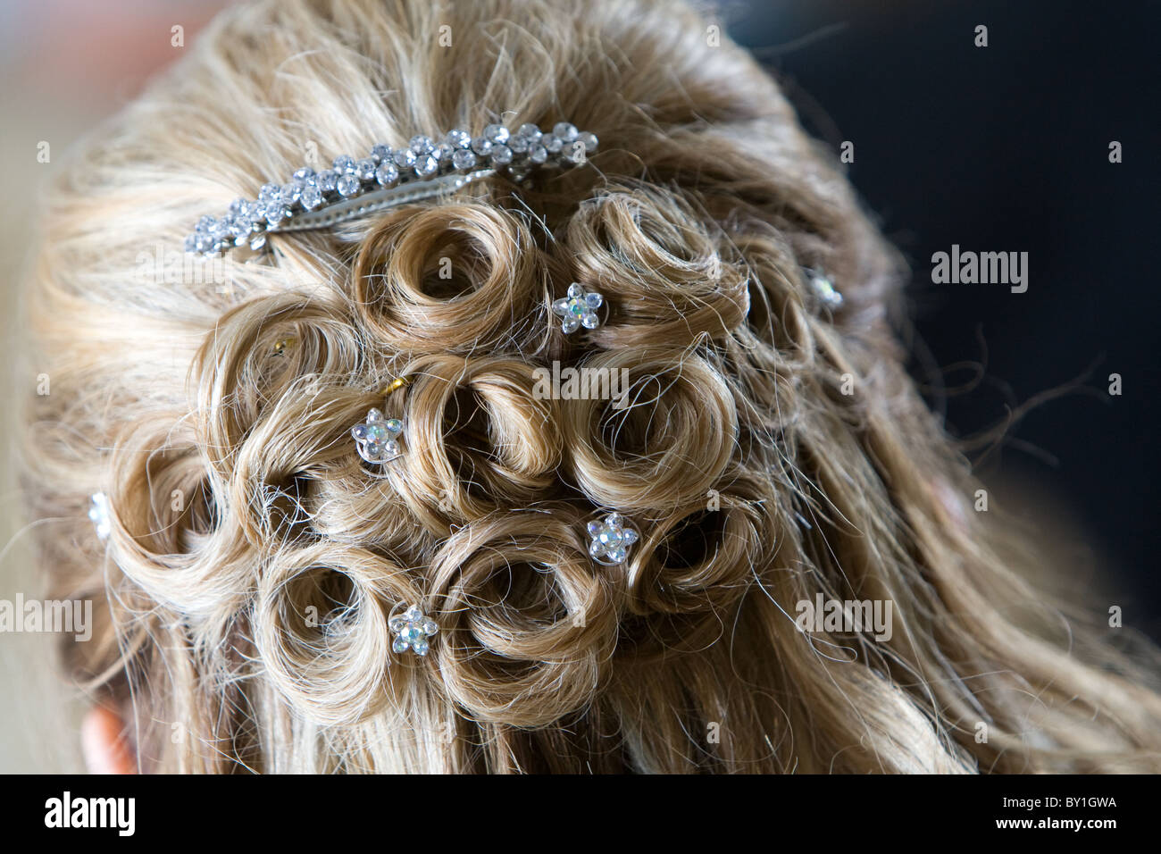 blonde bride's hairstyle of curls jewels and grips - Stock Image