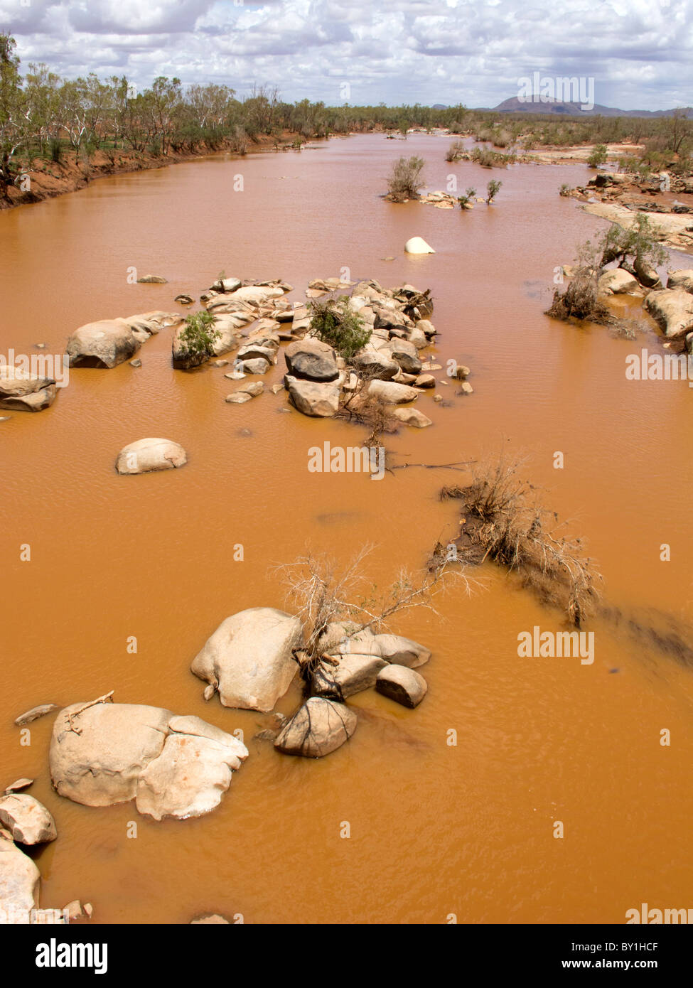 Ashburton River in outback Western Australia with water after rare rainfall - Stock Image