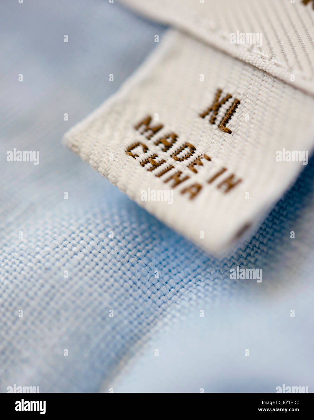 Detail of clothes label showing garment was Made in China - Stock Image