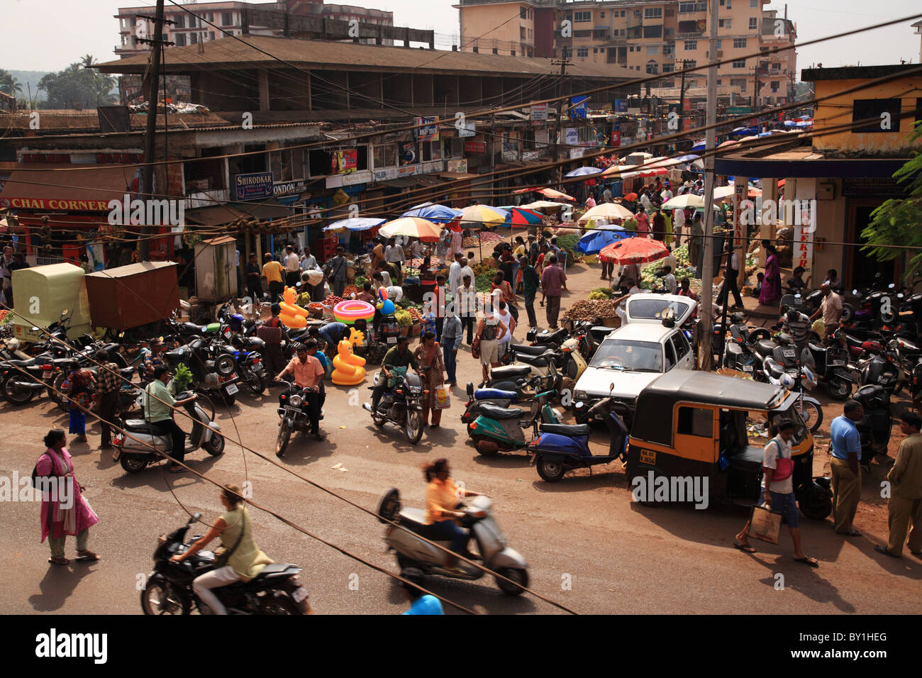 Looking down on a busy street Goa India 25 January 2008 - Stock Image
