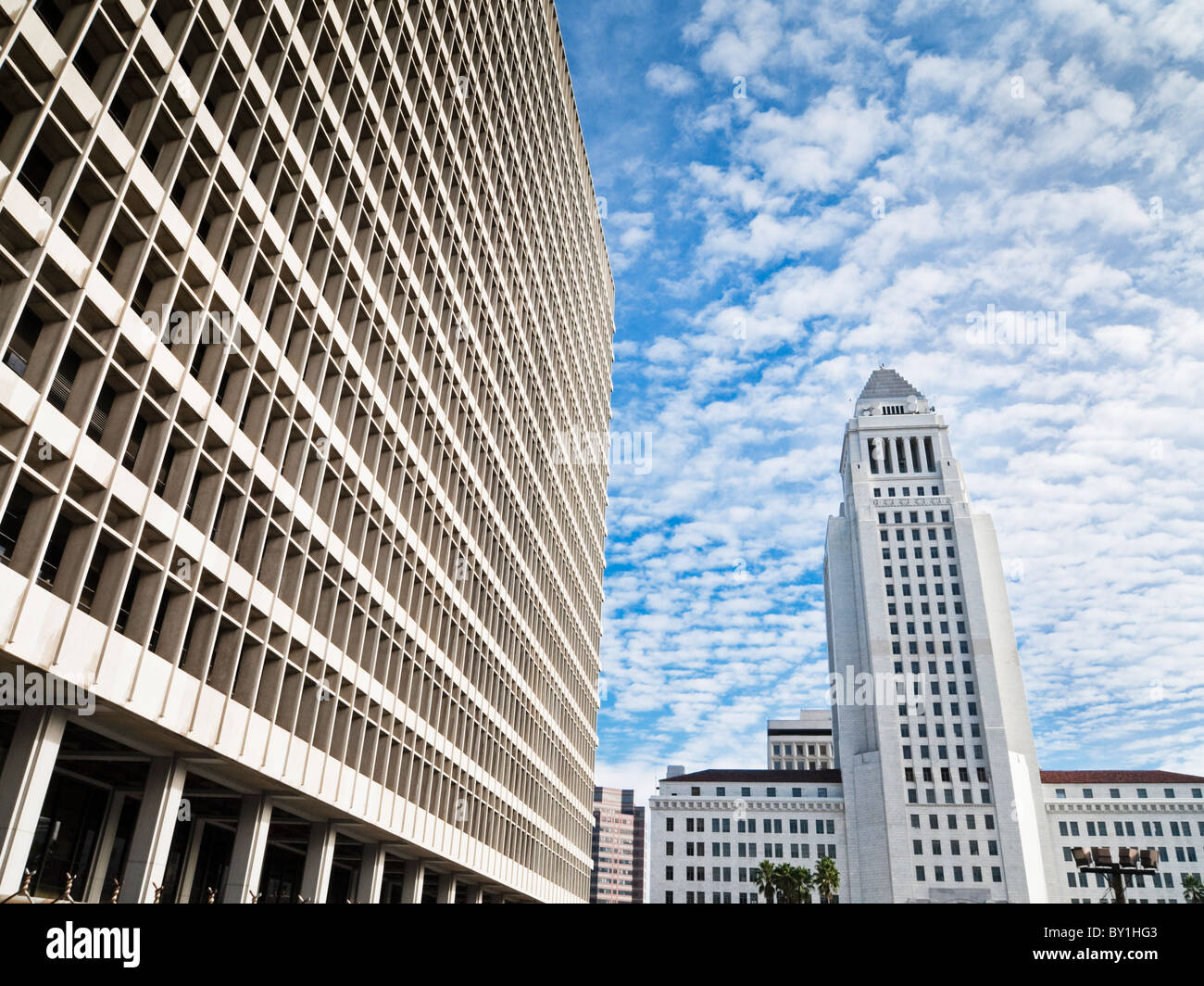 Los Angeles City hall and the criminal court house - Stock Image
