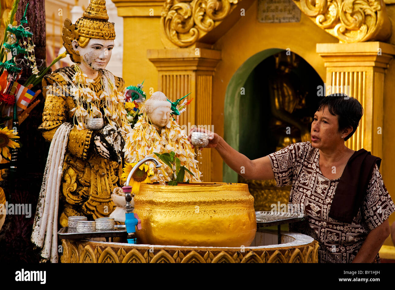 Myanmar, Burma, Yangon, Rangoon. A devout worshipper anoints a statue of Buddha, garlanded with lotus flowers, Shwedagon - Stock Image