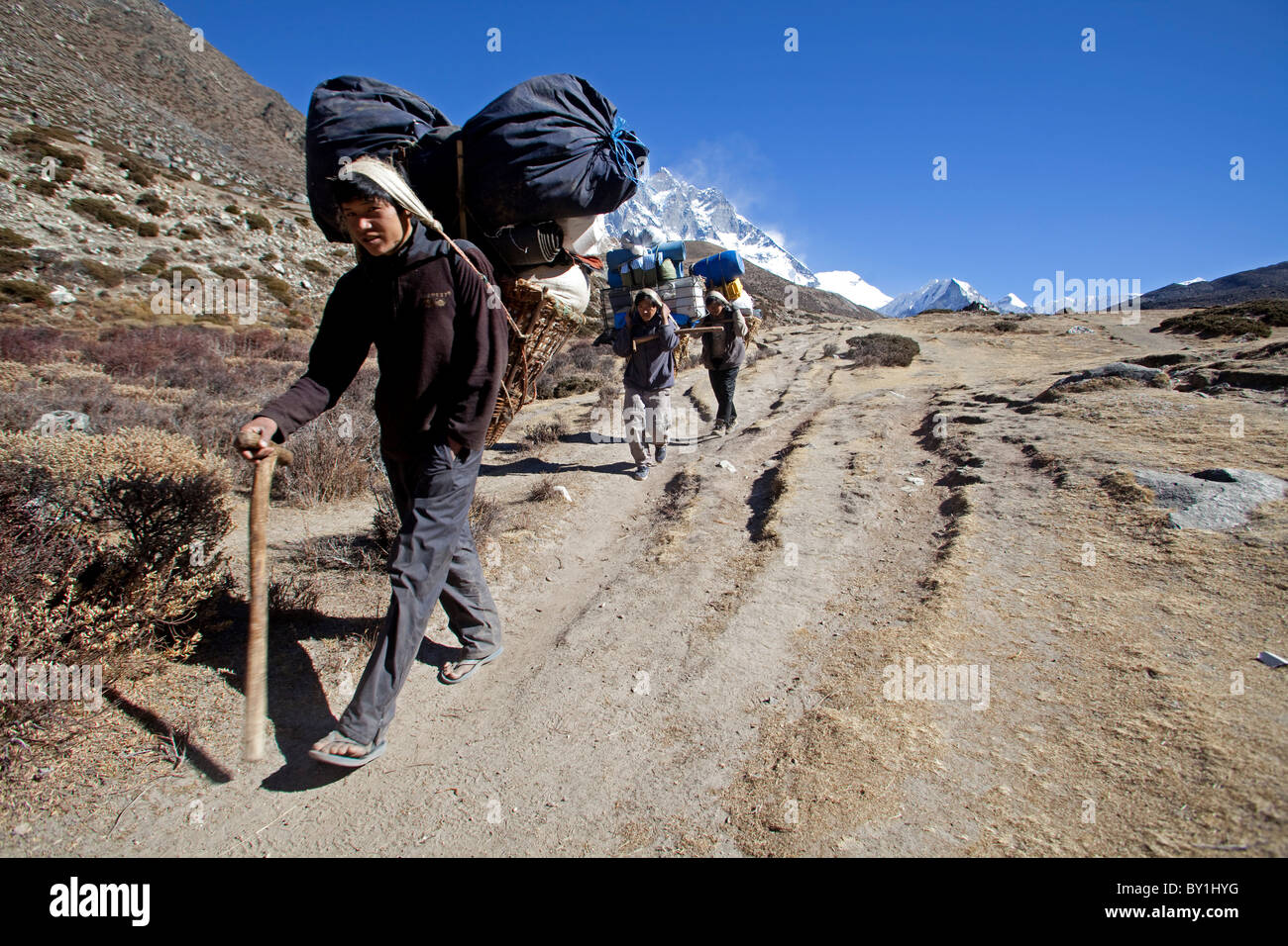 Nepal, Everest Region, Khumbu Valley. Heavily laden Nepalese porters on the Everest Base Trail decending with Island - Stock Image