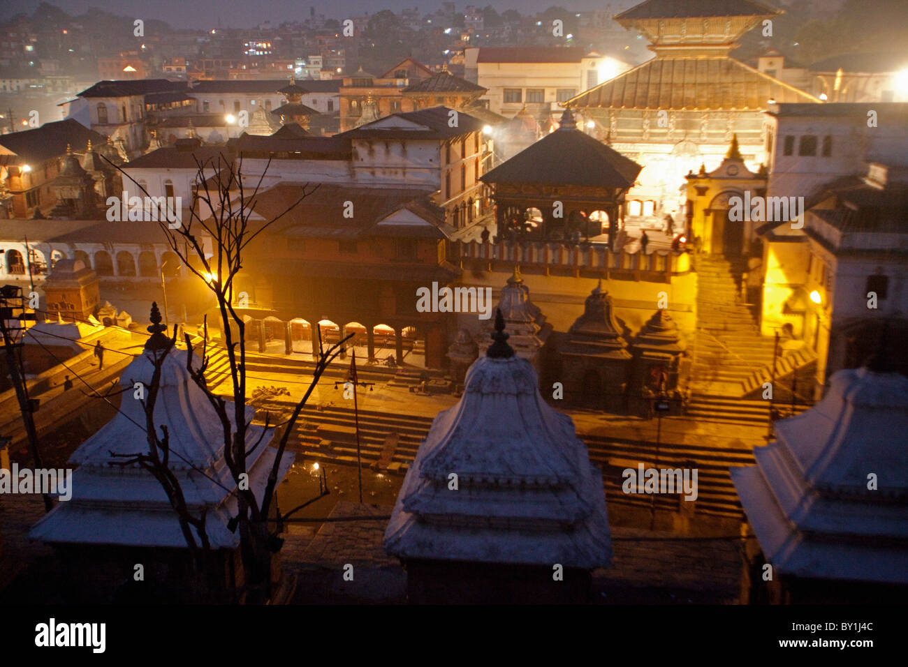 Nepal, Kathmandu, early morning at the Pashupatinath Temple on the banks of the Bagmati River one of the largest - Stock Image