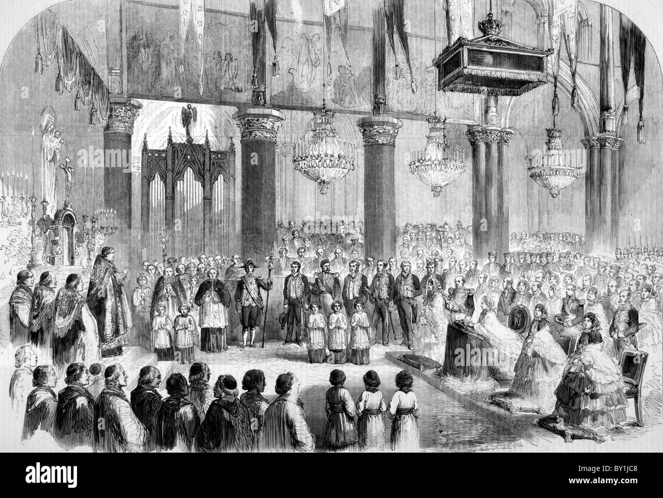 Te Deum at Notre Dame Cathedral, Paris, 1859: 19th century black and white illustration; From The London Illustrated - Stock Image
