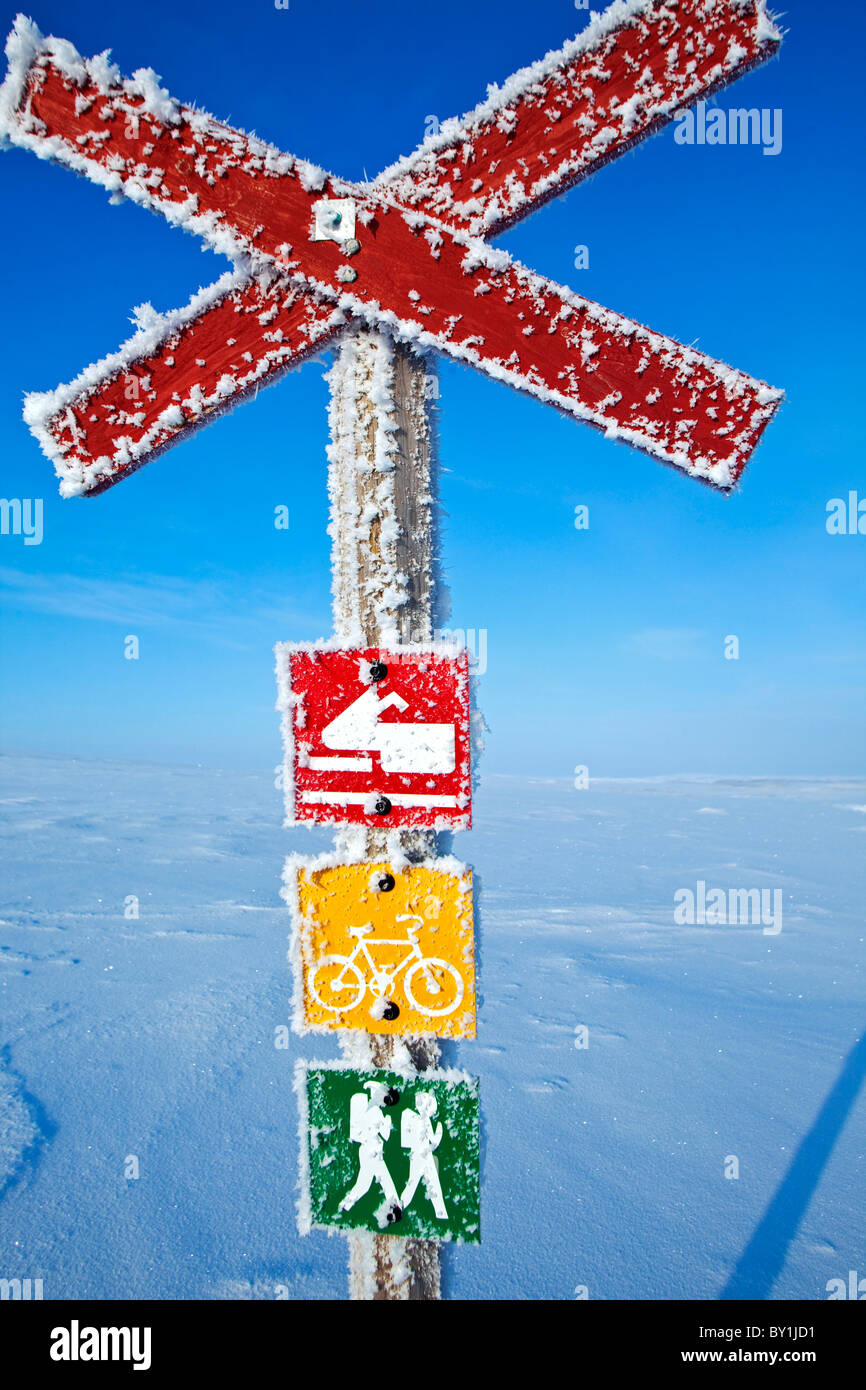 Norway, Finnmark Region. A sign post in the Arctic Circle - Stock Image