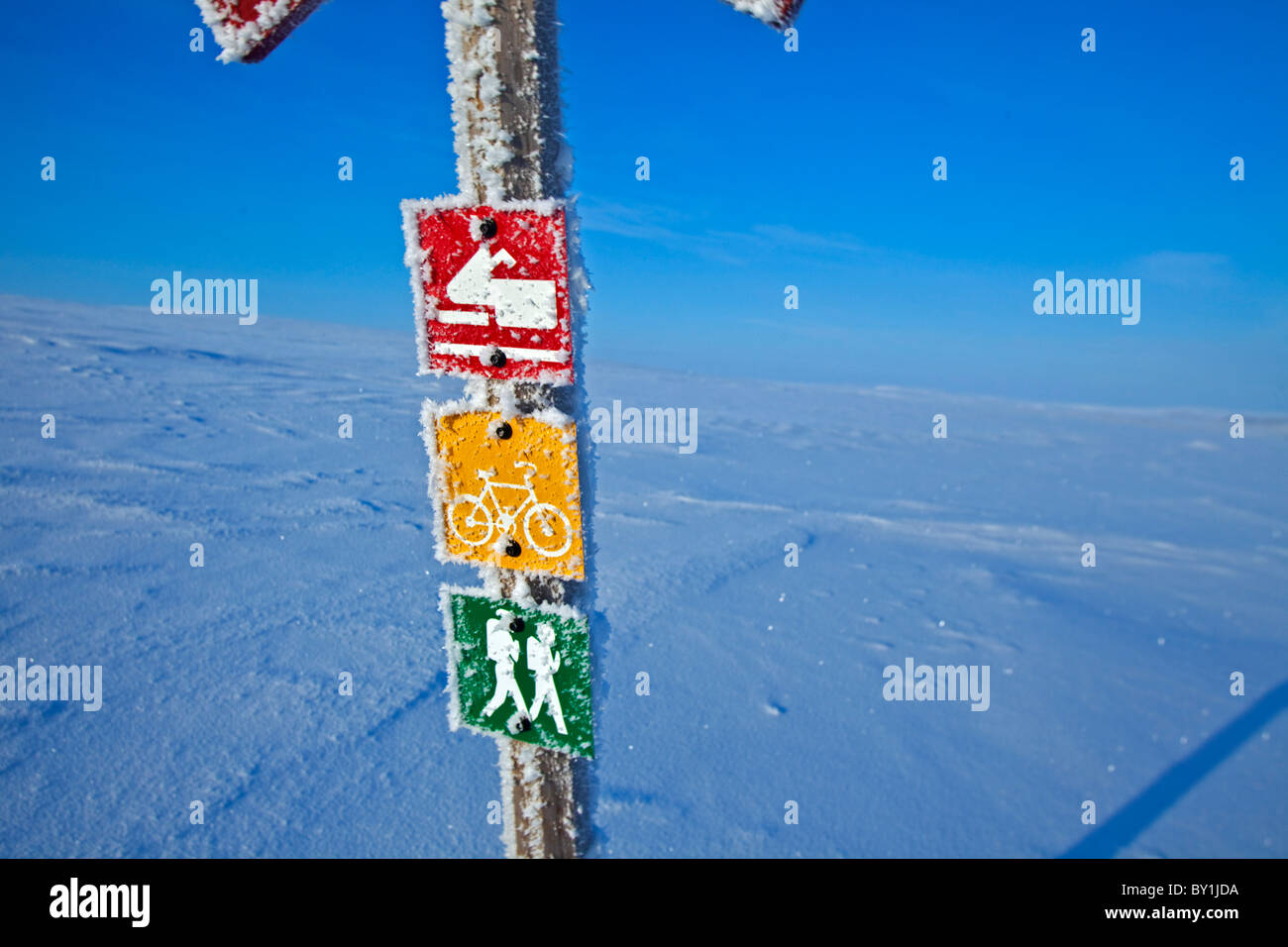 Norway, Finnmark Region. A sign post in the Arctic Circle Stock Photo