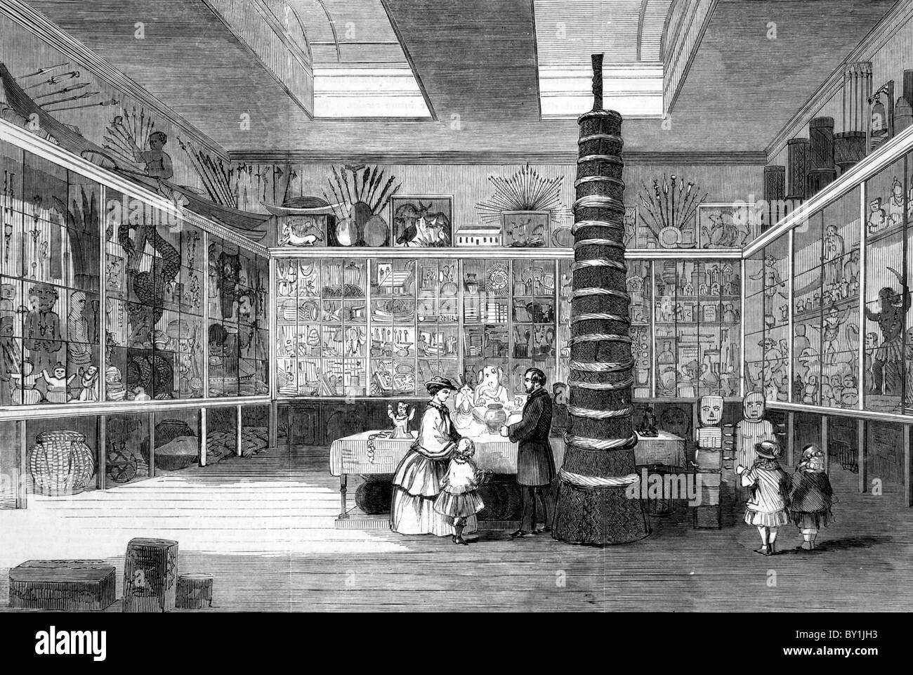 The Museum of the London Missionary Society: 19th century black and white illustration; From The London Illustrated - Stock Image