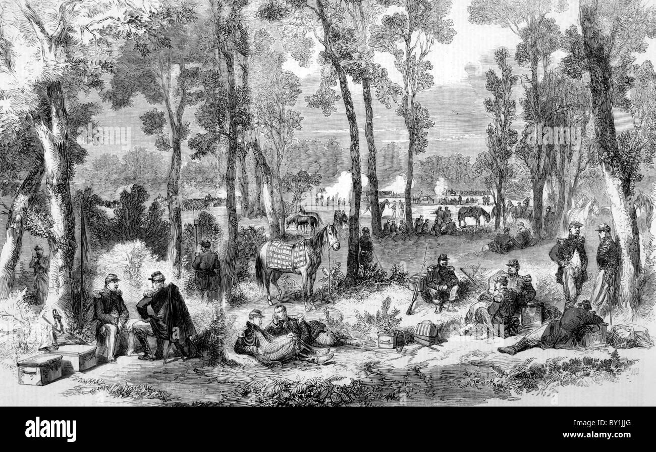 French Encampment; Second War of Italian Independence, circa 1859: 19th century black and white illustration - Stock Image