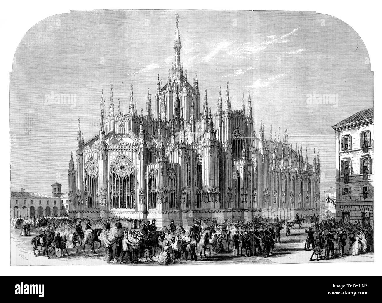 Milan Cathedral: 19th century black and white illustration; From The London Illustrated News - Stock Image