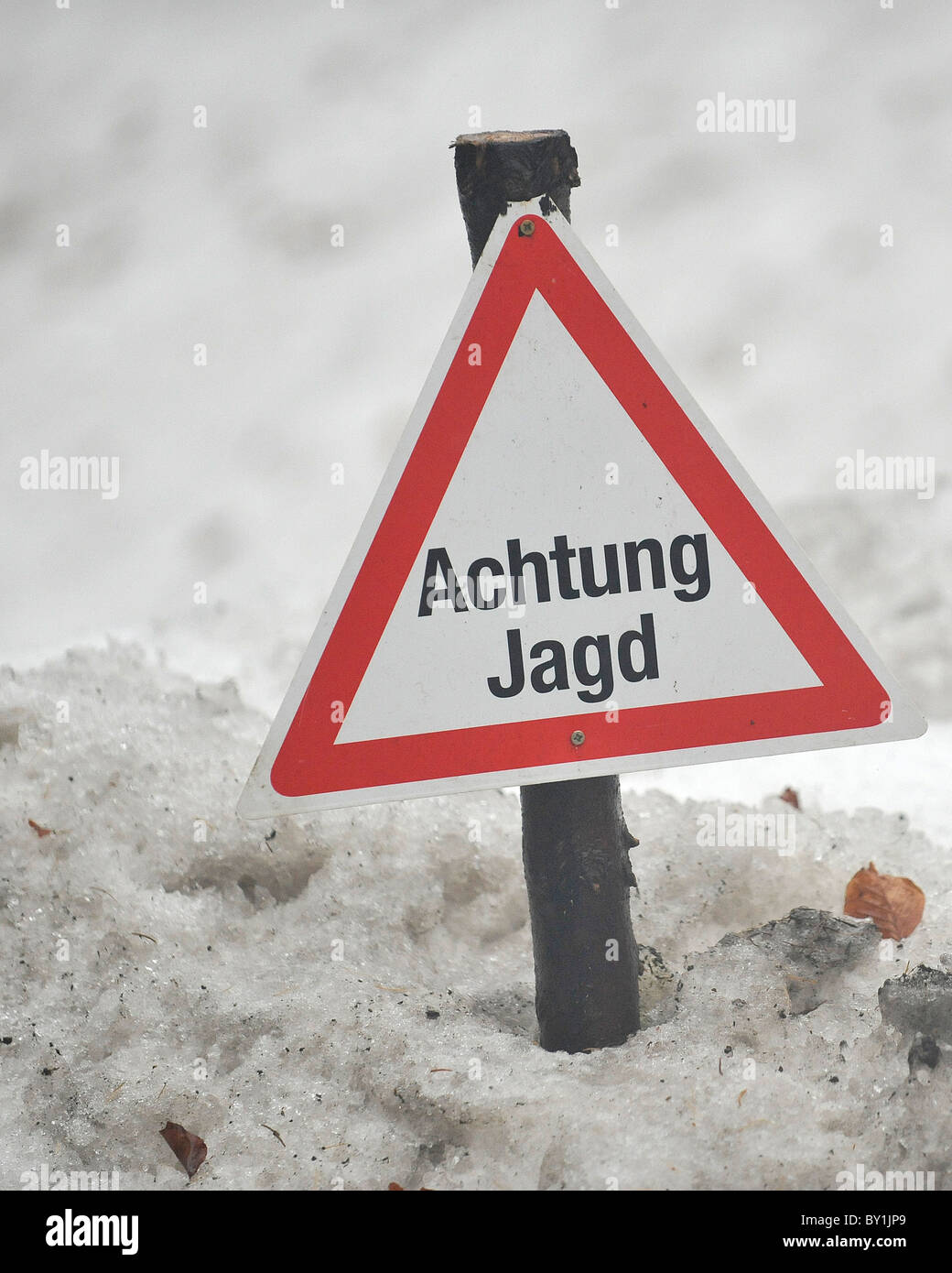 hunting sign in germany - Stock Image