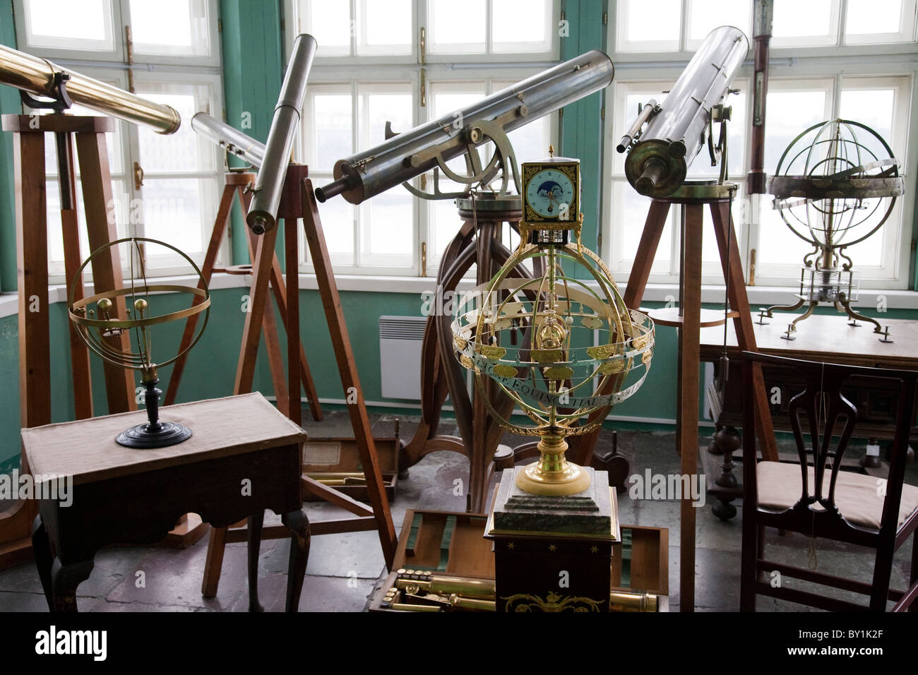 Russia, St Petersburg.  Instruments of astronomy, in the observatory of the Kunstkamera Museum.  St Petersburg, - Stock Image