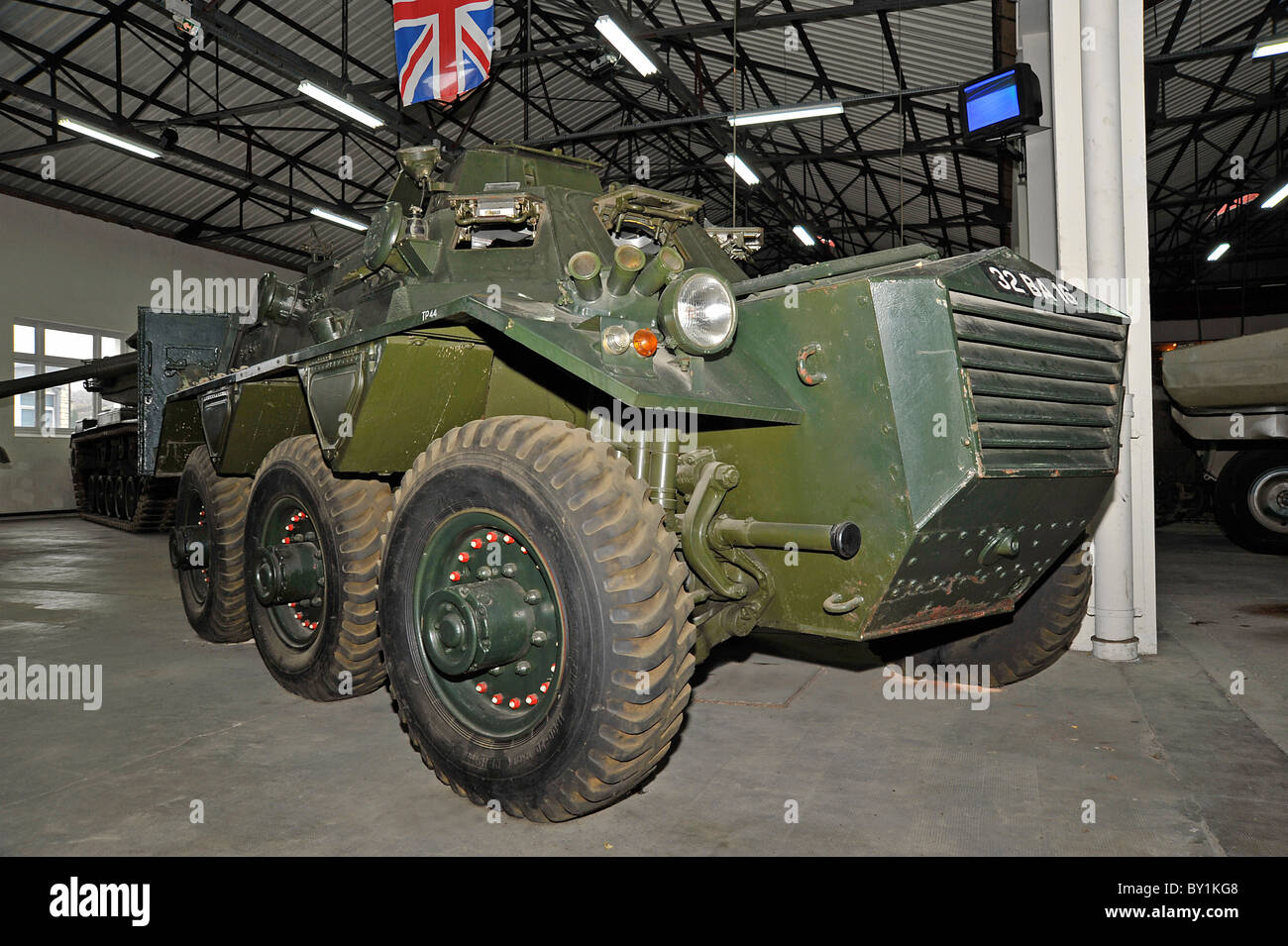 British army Saracen troop carrier on display at the tank