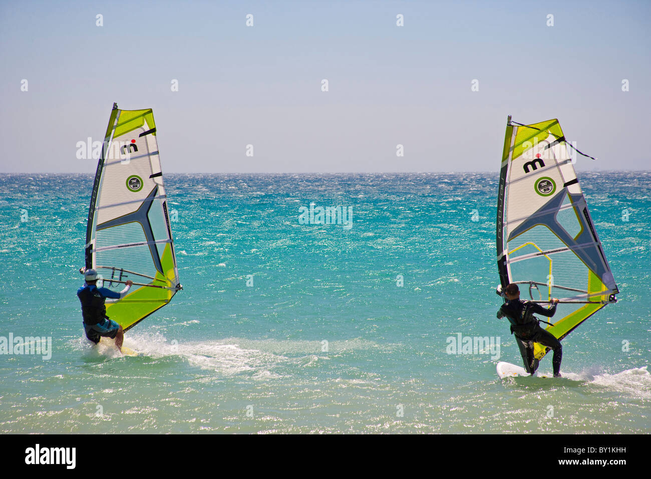 Water activity in Tarifa, the best place for watersports in Andalucia, Spain - Stock Image