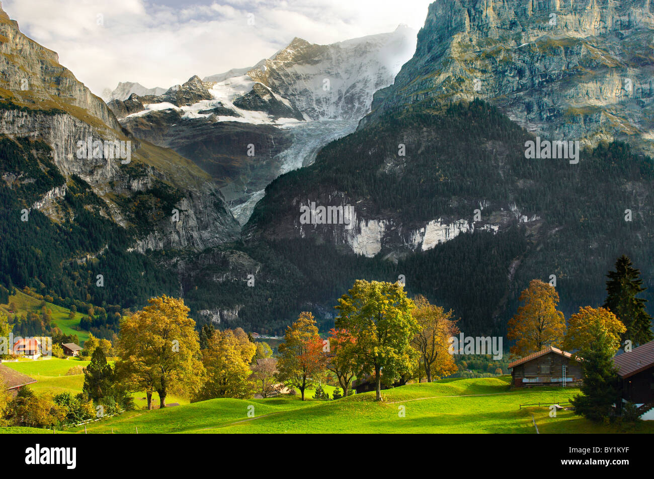 Swiss houses on high Alpine pastures - Grindelwald Switzerland - Stock Image