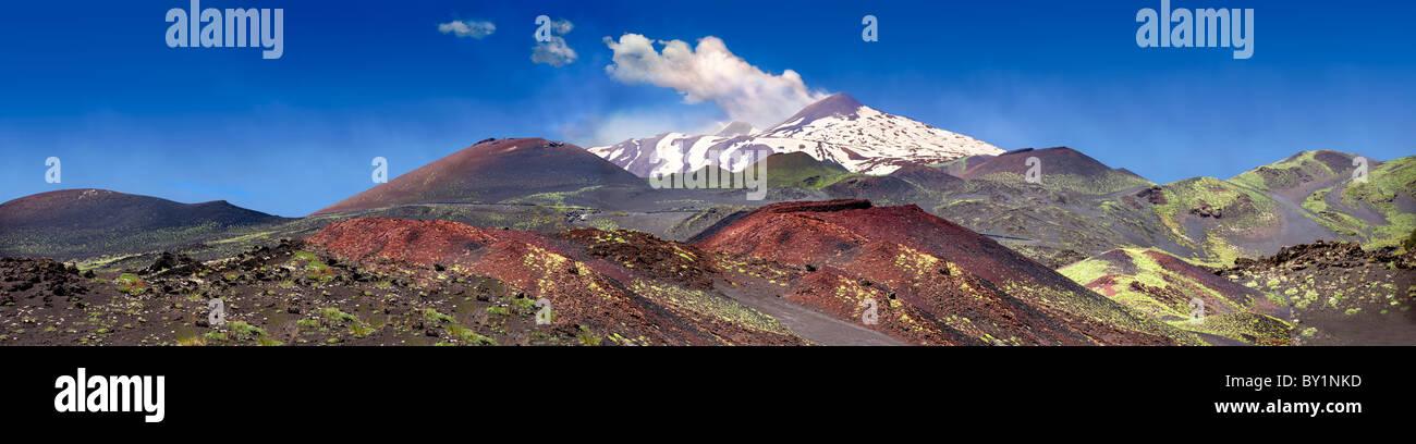 Volcanic slopes of Mount Etna Sicily - Stock Image