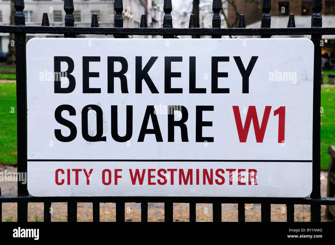 Berkeley Square W1 street sign, Mayfair, London, England, UK - Stock Image