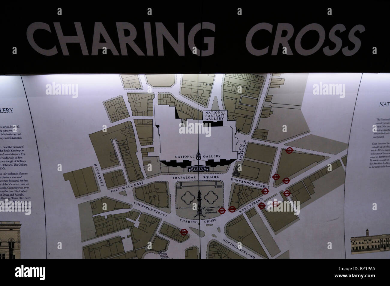 Map of Trafalgar Square area at Charing