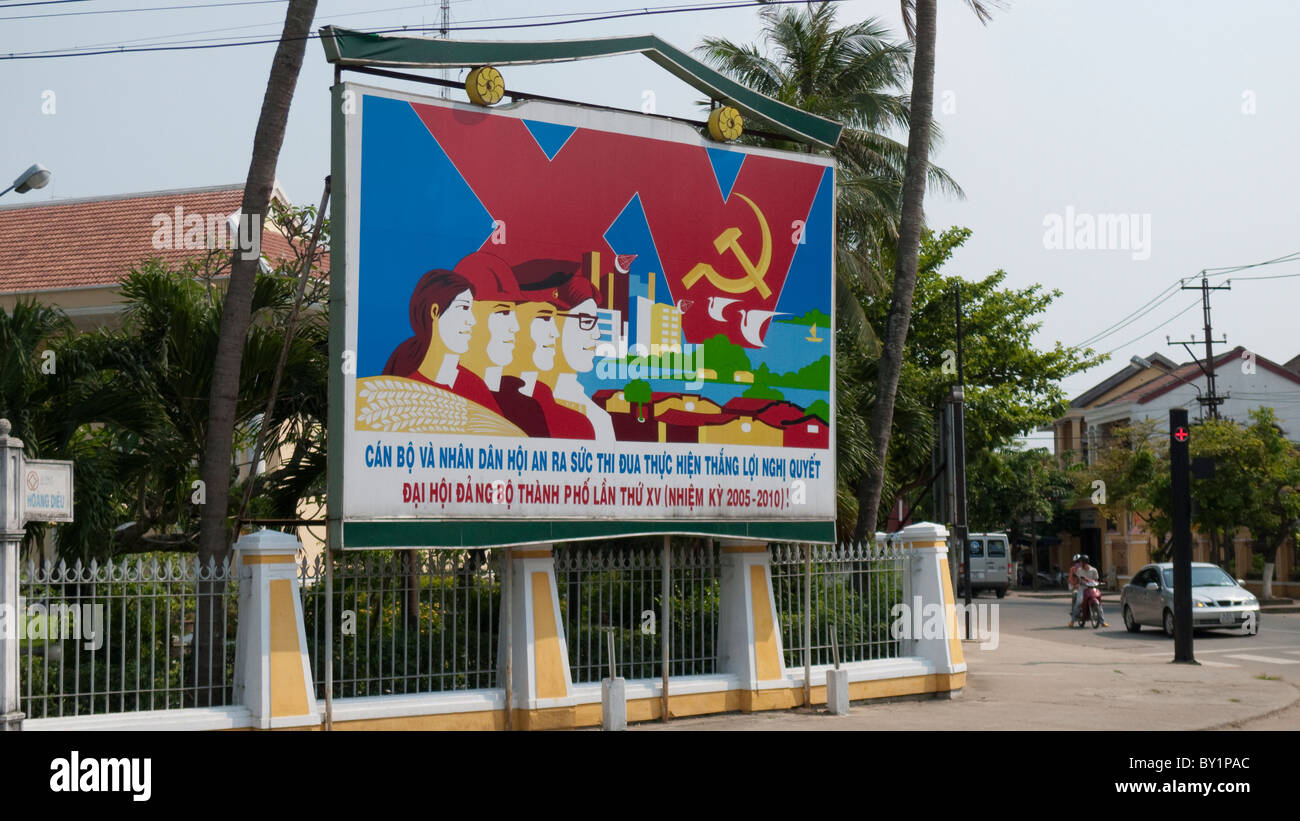 Government Posters, Hoi An, Vietnam - Stock Image