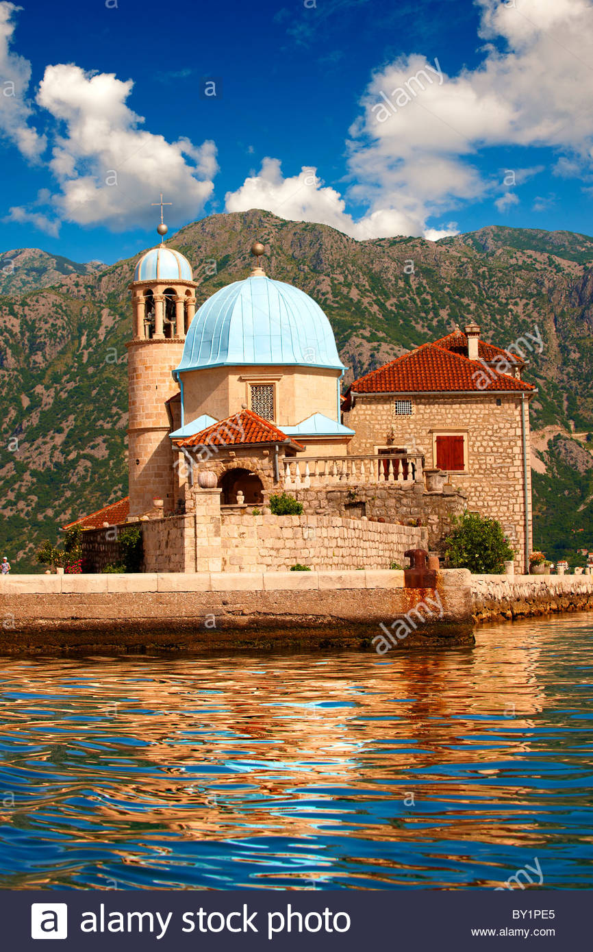 Our Lady of the Rocks Island Church (Gospa od Skrpjela), Kotor Bay, Montenegro Stock Photo