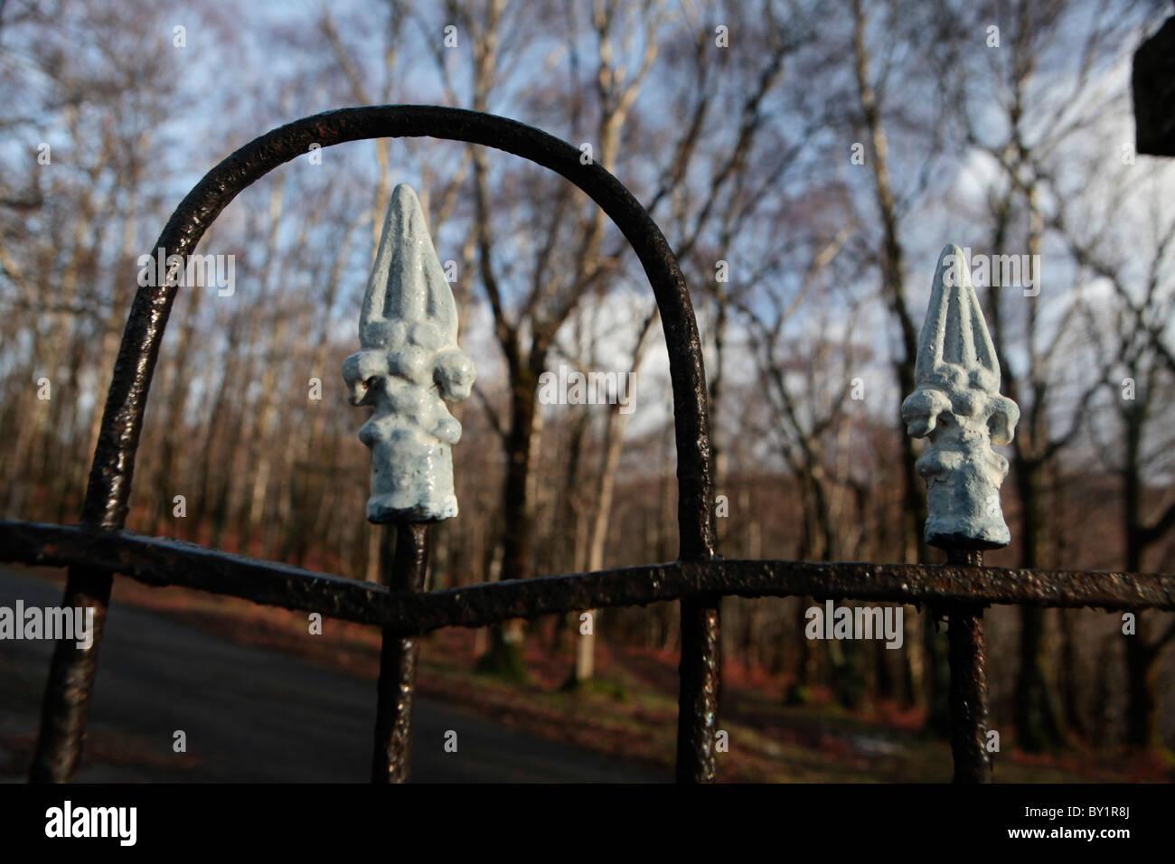 Iron railings at Church and Graveyard , Wales UK - Stock Image