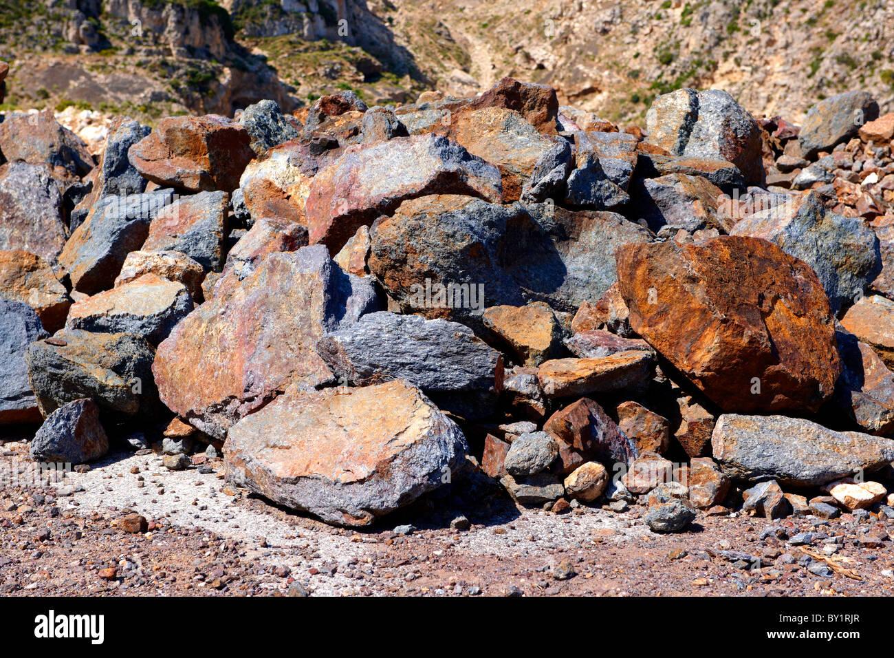 Mined Emery rocks on Naxos, Greek Cyclades Islands - Stock Image