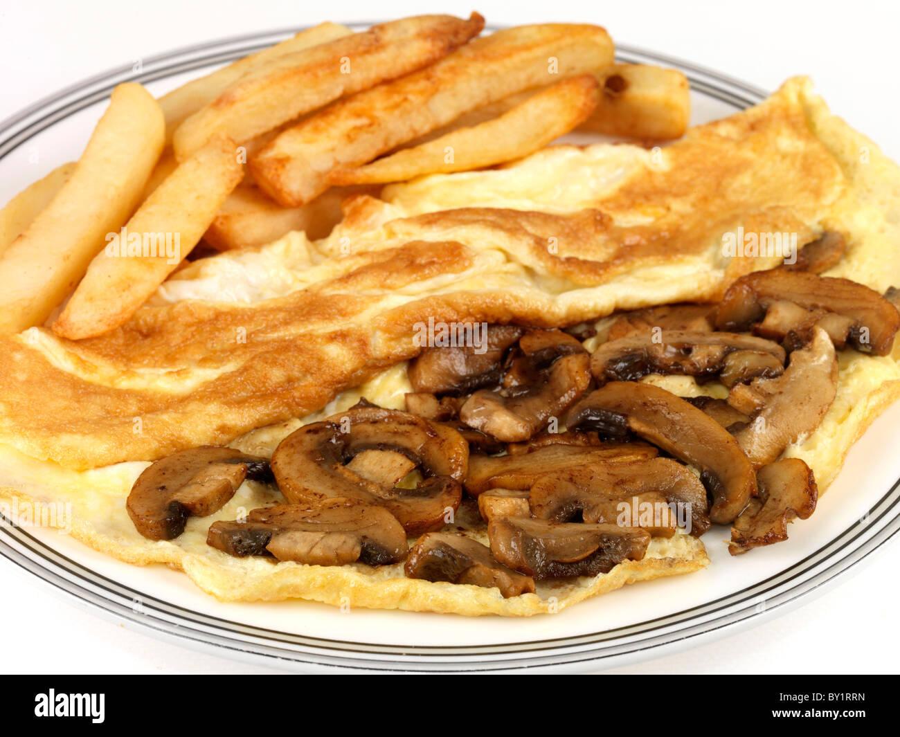 Mushroom Omelette with Chips - Stock Image