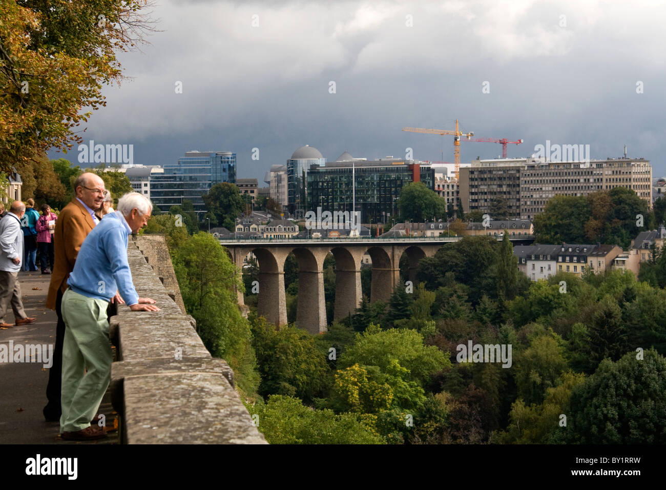 The Passerelle viaduct in Luxembourg City, Luxembourg. - Stock Image