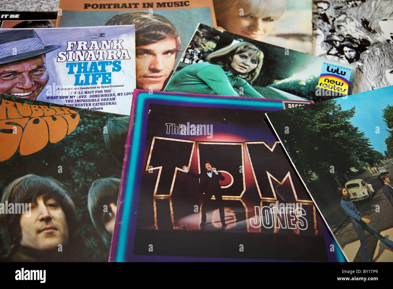 Vinyl LP record covers Stock Photo