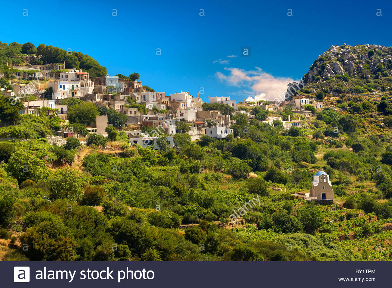Hill Village of Skado. Naxos Greek Cycaldes Island. - Stock Image