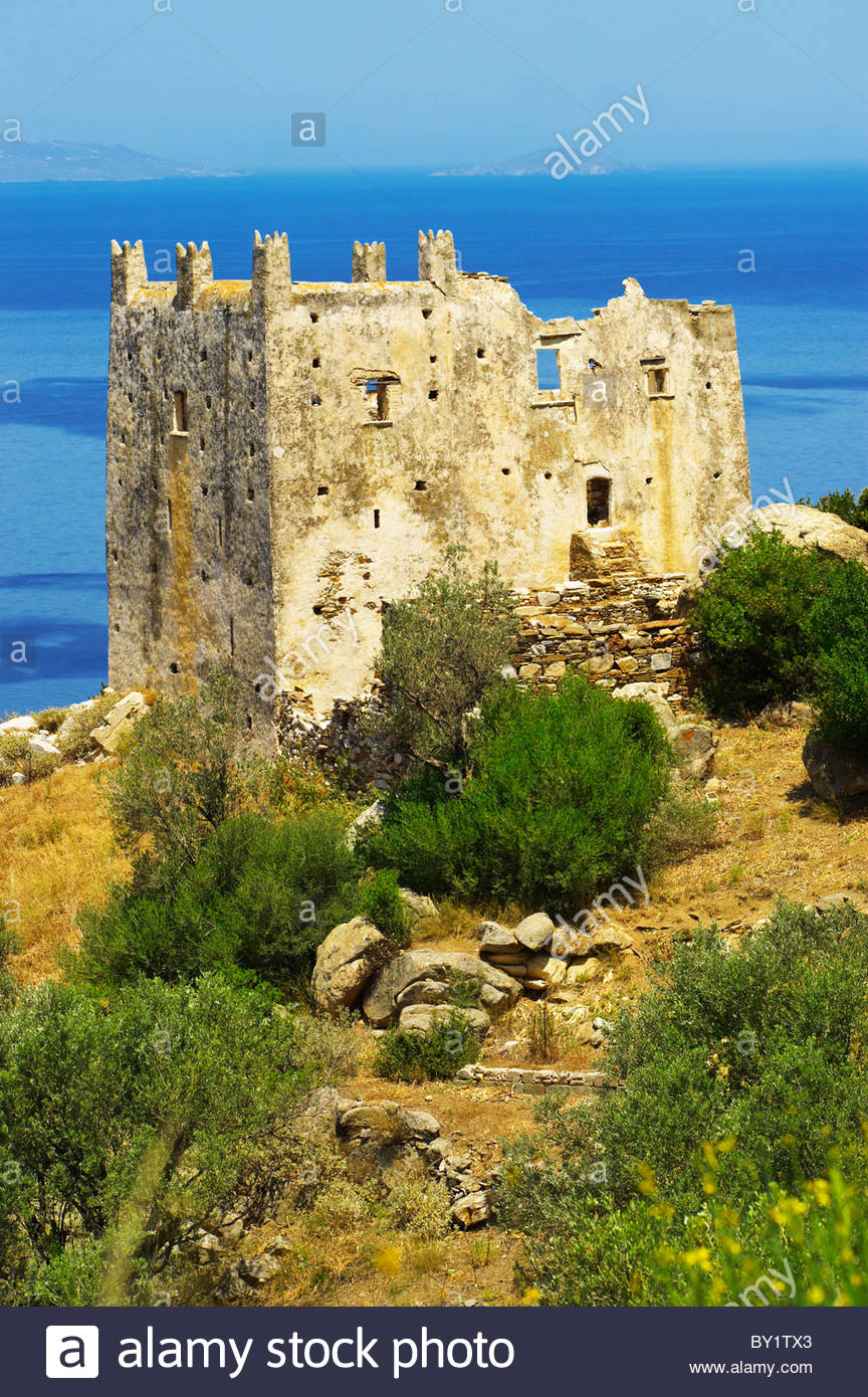 Tower of Ayia (Agia) Venetian fort - Naxos Greek Cyclades Islands - Stock Image
