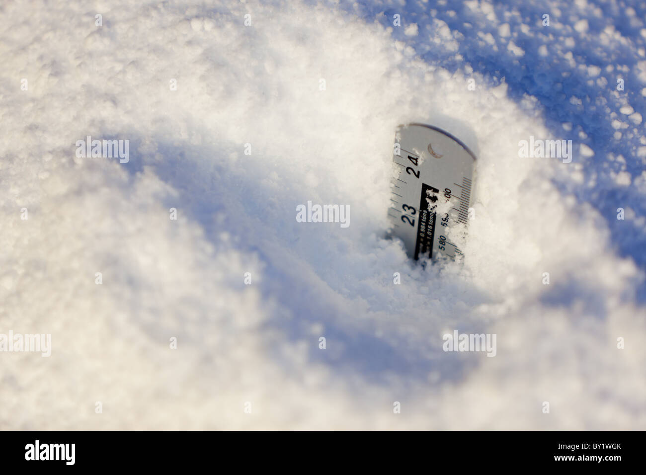 24 inches of snow - Stock Image