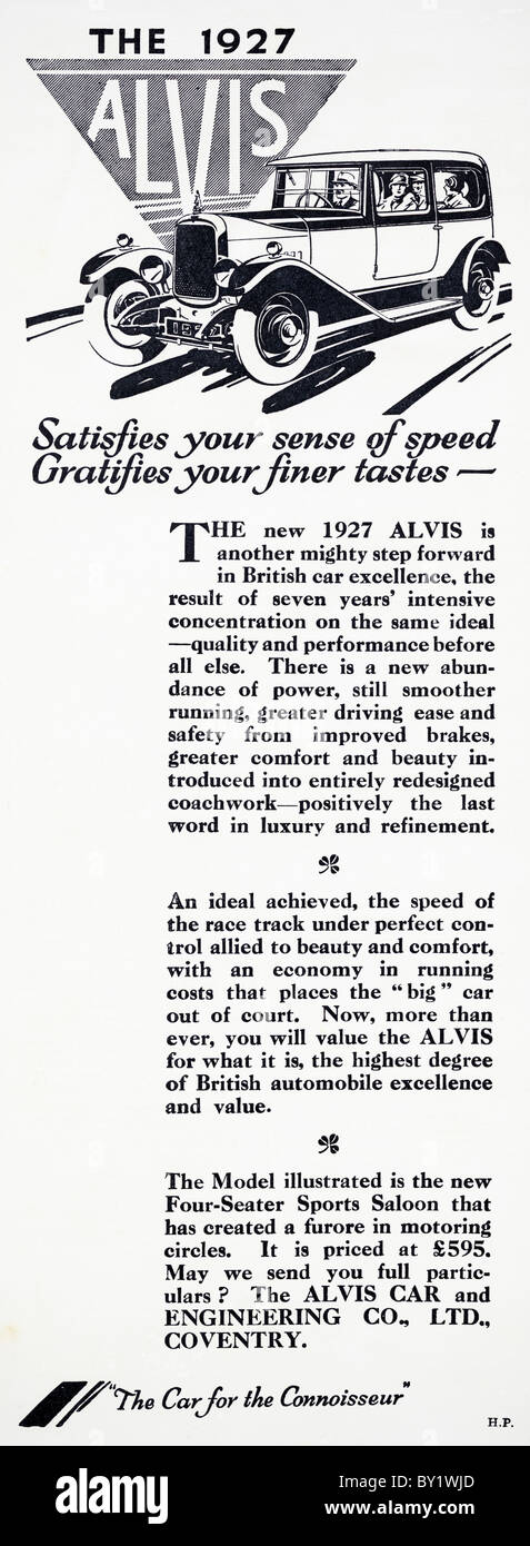 Original advert for Alvis 12/50 sports saloon, 3616 cars were produced from 1923 to 1933 in Coventry England UK - Stock Image
