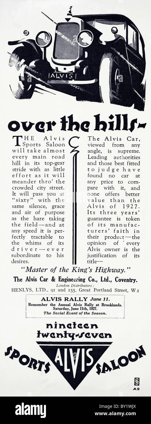 Original advert for Alvis 12/50 sports saloon 3616 cars were produced from 1923 to 1933 in Coventry England UK - Stock Image