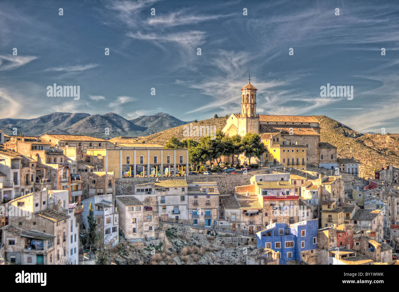 View over the Murcian town of Cehegín showing the Church of Santa María Magdalena and old quarter. Spain - Stock Image