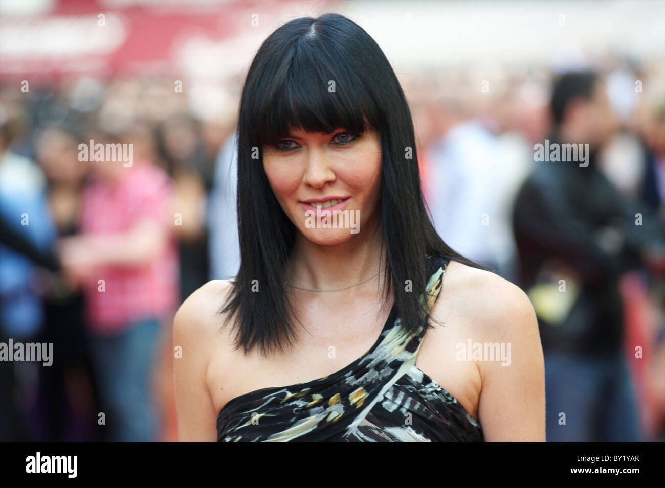 Linzi Stoppard arrives for the premiere of'The Expendables,' on Monday night, August 9, 2010, at the Odeon, Leicester Stock Photo