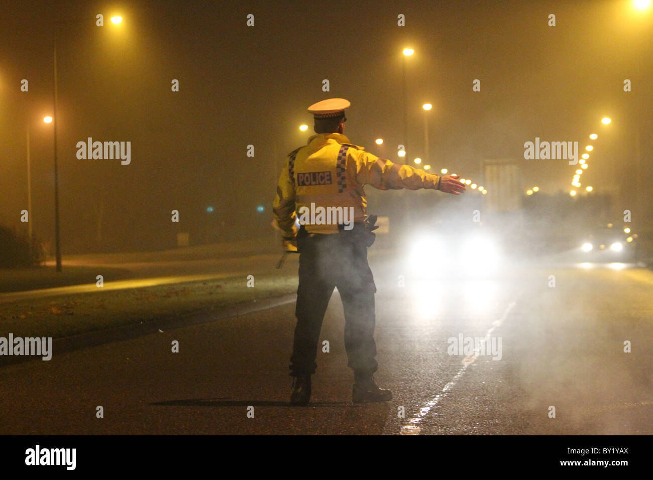 Christmas drink drive initiative by Thames Valley police in the city of Milton Keynes, England, UK. - Stock Image