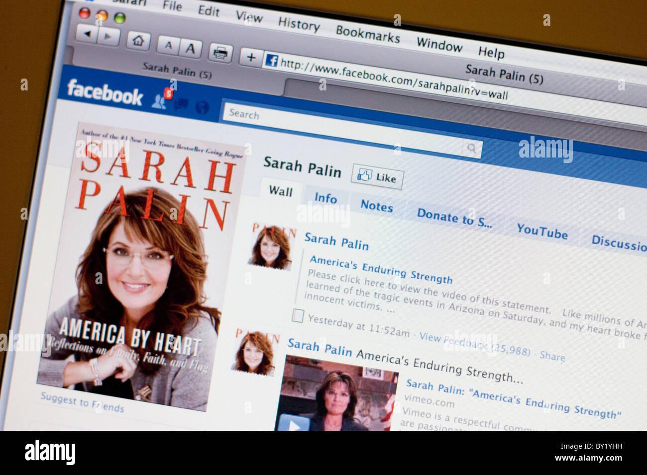 Screenshot of Facebook page - Sarah Palin - Stock Image