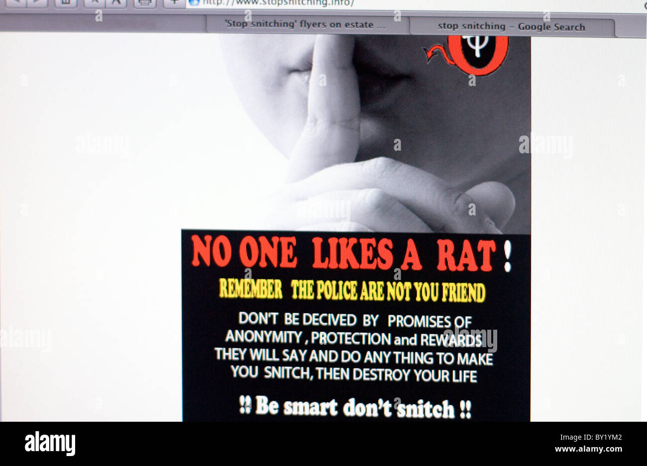 Screenshot of stopsnitching website Stock Photo: 33849762