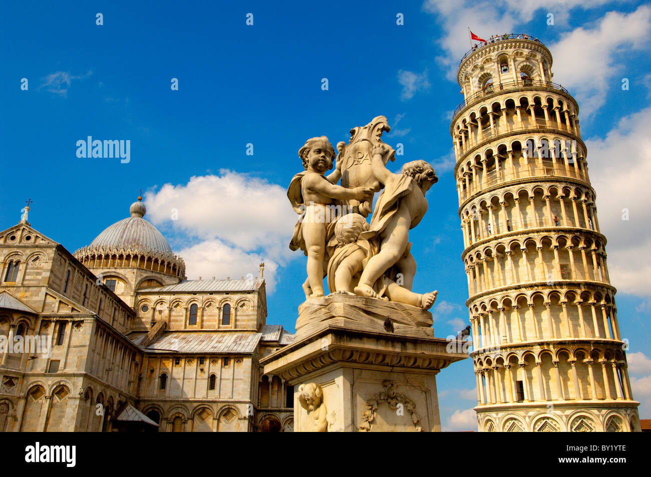 Catherderal and Leaning Tower - Piazza del Miracoli - Pisa - Italy - Stock Image