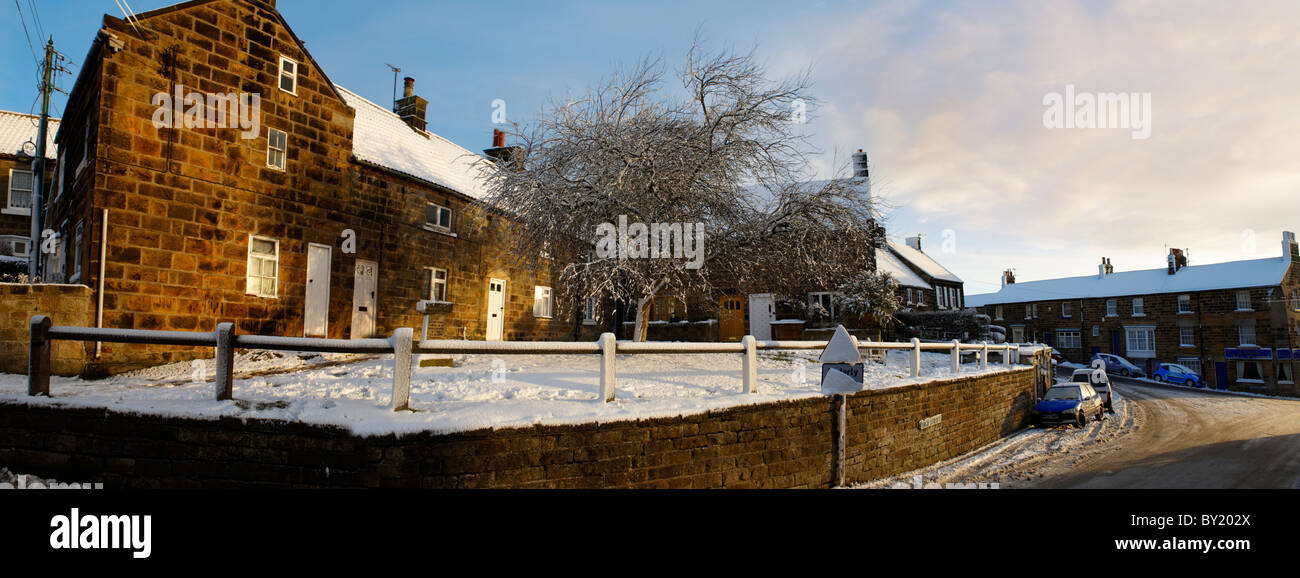 Castleton, North Yorks Moors National Park in the snow - Stock Image