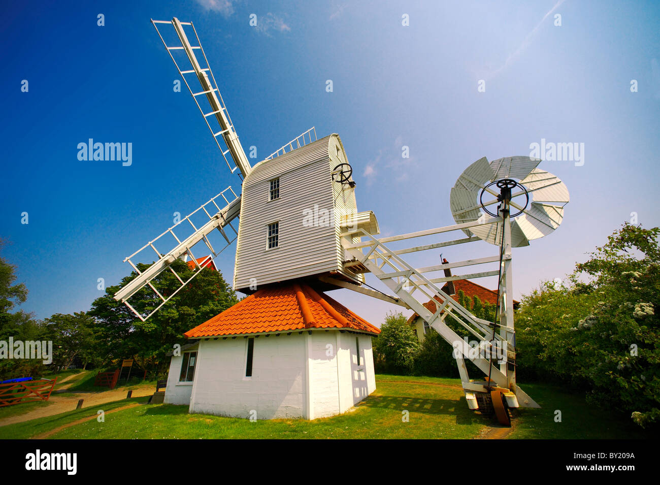 Wooden windmill at Thorpeness village - Suffolk - England - Stock Image