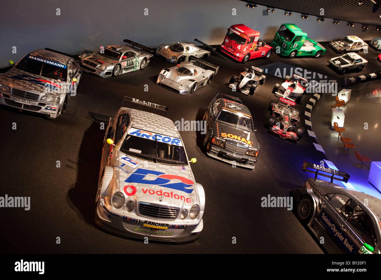 Germany,Stuttgart, Mercedes-Benz Museum, race cars - Stock Image
