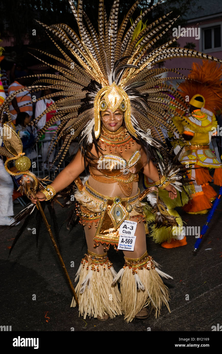 Female Dancer, Junkanoo, New Year's Day, 2011, Nassau, Bahamas - Stock Image