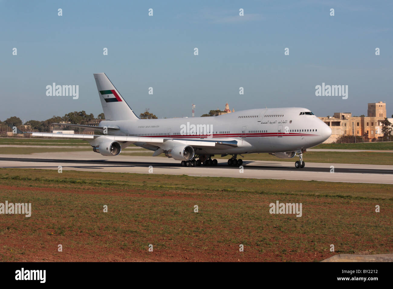 Dubai Air Wing Boeing 747-400 VIP transport on takeoff - Stock Image
