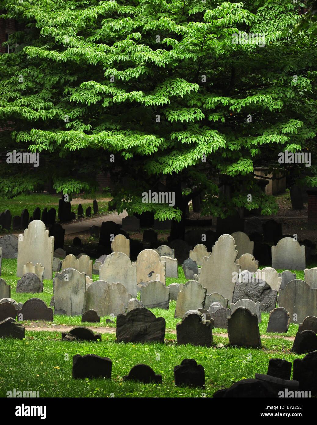 Granary Burying Ground, Boston, Massachusetts. Resting place for Samuel Adams, John Hancock, and Paul Revere. - Stock Image