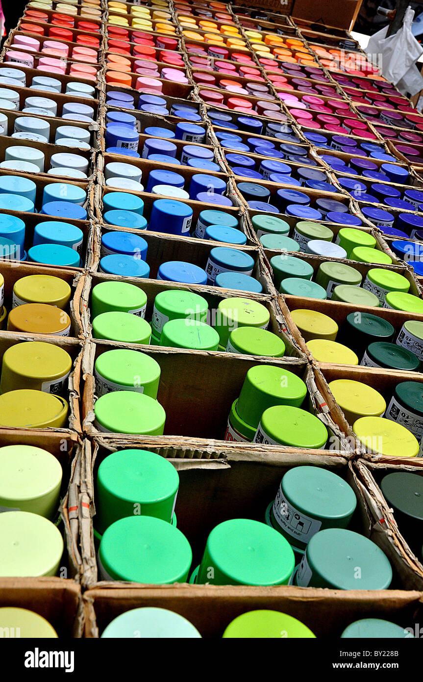 Spraypaint cans in a market in Amsterdam Stock Photo