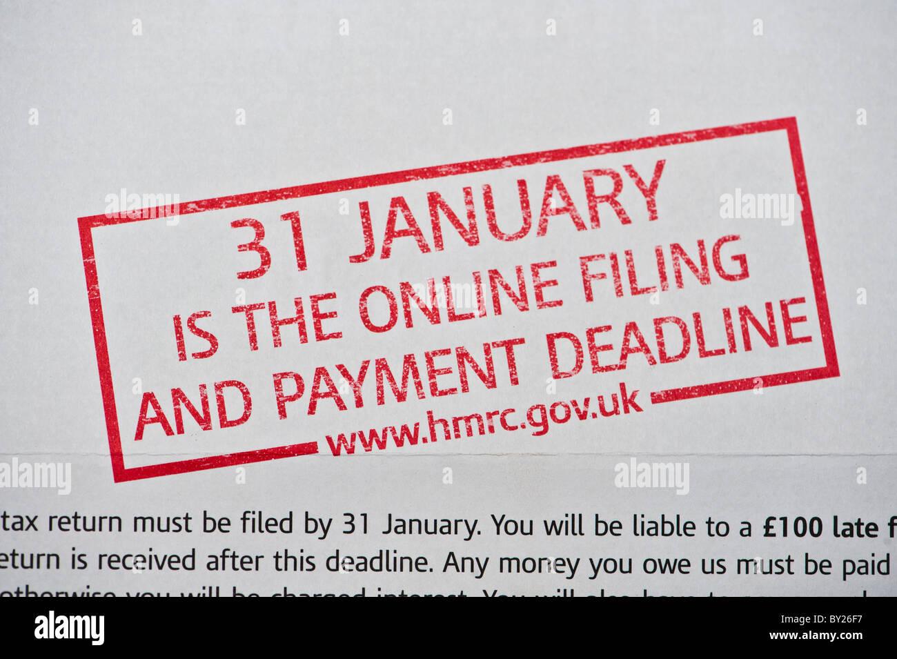 31 January UK tax deadline notice - Stock Image