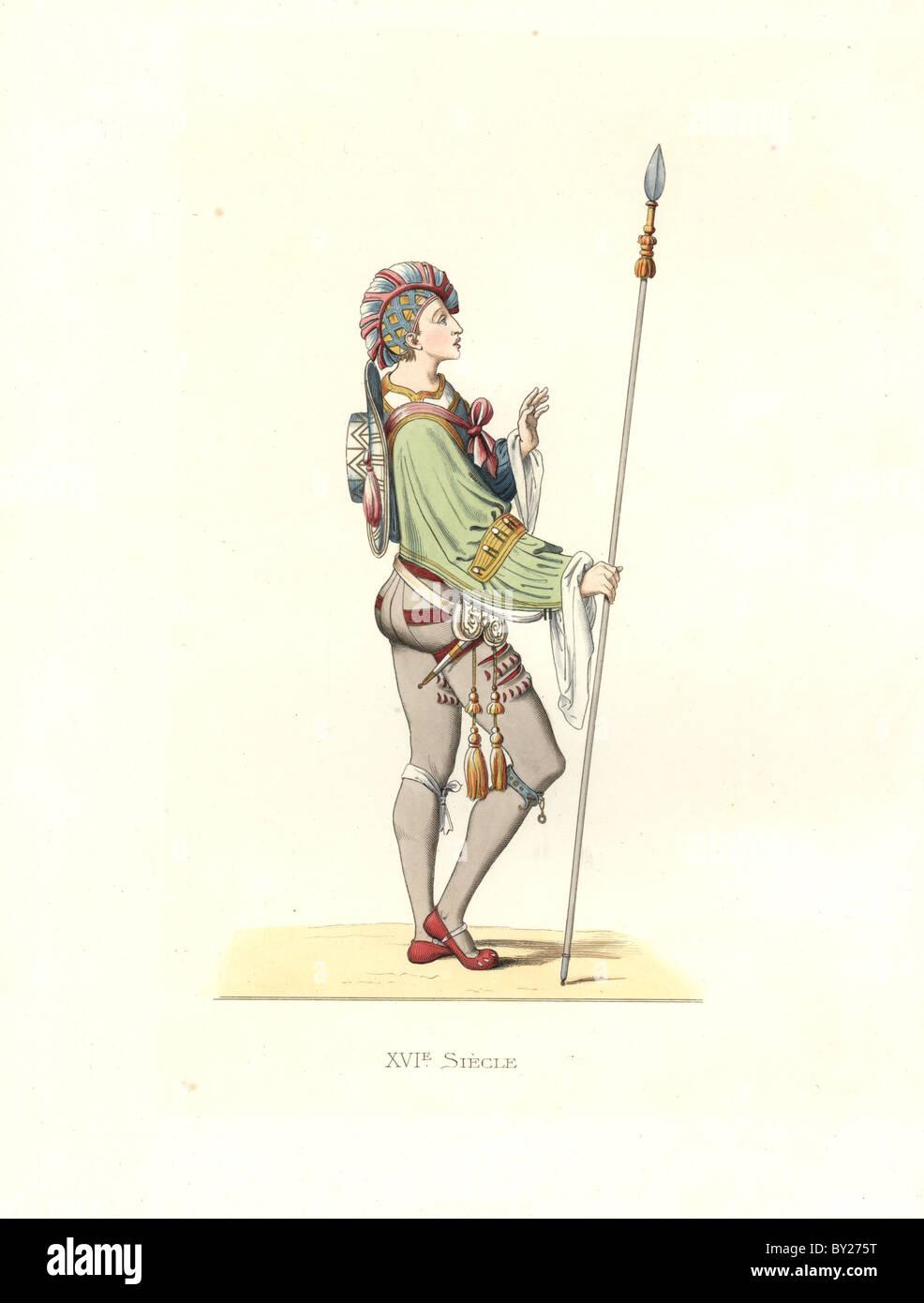 Flemish military attendant, 16th century. - Stock Image
